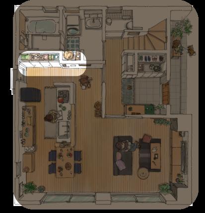 モデルハウス 1F 一階 | キッチンサイド