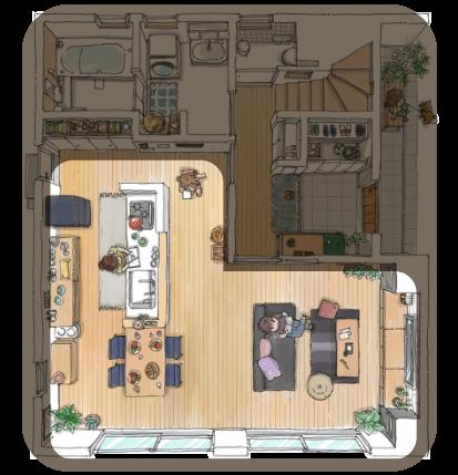 モデルハウス 1F 一階 | 南全体から陽光